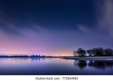 Lake on Winter Night