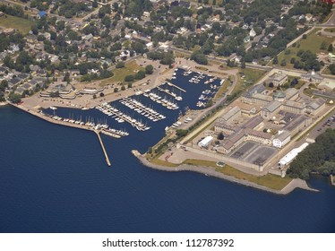 Lake Ontario shoreline aerial, marina and penitentiary, Kingston Ontario Canada