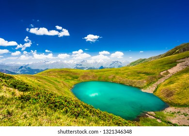Lake Oreti in the caucasian mountains in Tusheti, Georgia