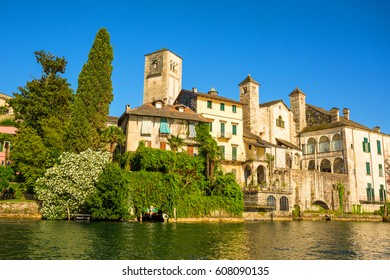Lake Orta and island of San Giulio, Italy