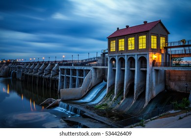 Lake Overholser Dam in Oklahoma City after sunset. It was built in 1918 to impound water from the North Canadian river. Long exposure.