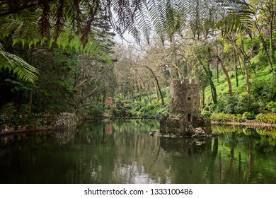 Lake in the park of Pena Palace,  Sintra, Portugal