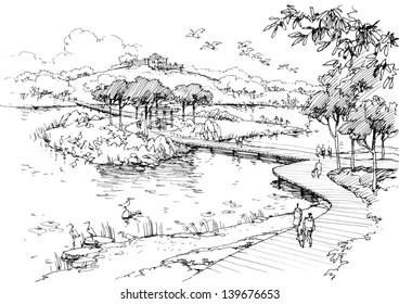 Lake in the park-line drawing