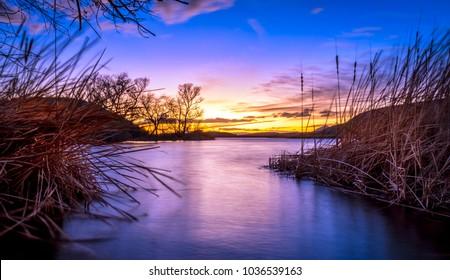 Lake Patagonia in Arizona  during a beautiful sunset