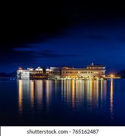 Lake Pichola and Taj Lake Palace at night , Udaipur, Rajasthan, India, Asia.