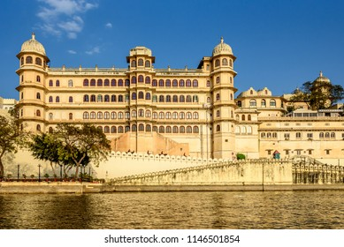 Lake Pichola Water View of City Palace  Udaipur  a palace complex situated in the City of Udaipur Rajasthan India
