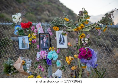 Lake Piru, California / USA -  July 15, 2020:  A makeshift memorial for Naya Rivera with candles, gifts and remembrances stands at Lake Piru, a week after she drowned while boating with her young son.