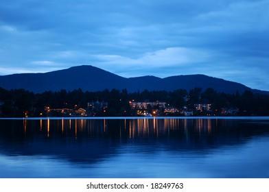 Lake Placid - July 30, 2008: Panoramic view of Lake Placid at night. NY, USA