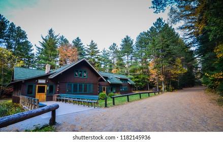 Lake Placid, New York / USA - October 6, 2012: Adirondack Loj, a rustic wooden cabin hostel in the Adirondack Mountains.