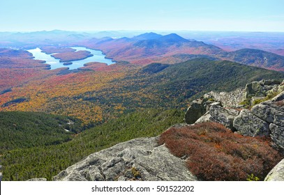 Lake Placid view from top of Whiteface Mountain in fall