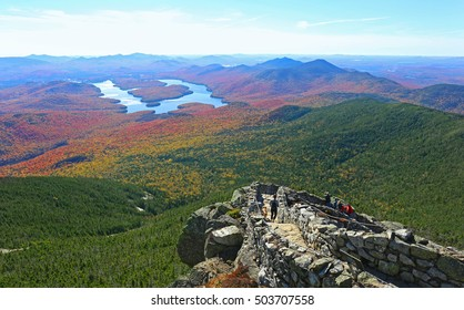 Lake Placid view from top of Whiteface Mountain in fall - Shutterstock ID 503707558