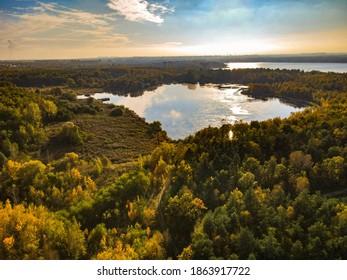 Lake pogoria district in ataumn time from drone jeziora