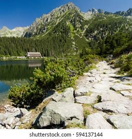 Lake Popradske pleso with mountain hotel in High Tatras, Slovakia
