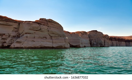 Lake Powell, Arizona, USA / September 16, 2018: Reservoir on the Colorado River, straddling the border between Utah and Arizona. Major vacation spot that around two million people visit every year.