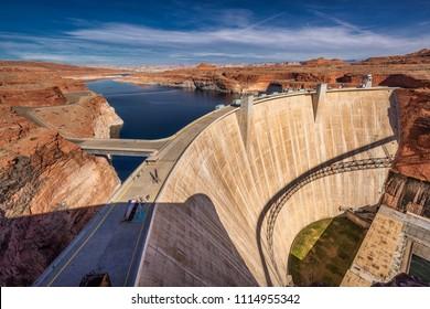 Lake Powell and Glen Canyon Dam in the Desert of Arizona,United States