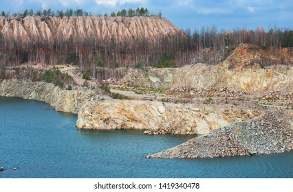 Lake in ppen pit stone mine. Ukraine