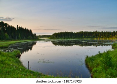 A lake in Prince Albert National Park in the early morning hours.