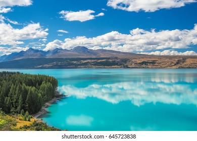 Lake Pukaki, the turquoise water comes from Mt. Cook and Tasman glacier. (South Island, NZ)