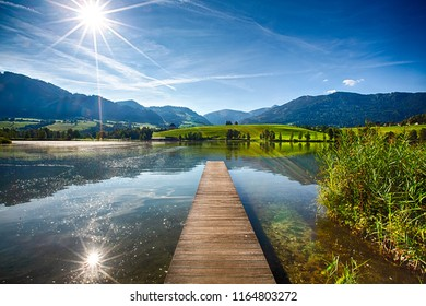 Lake Putterersee in the Austrian Ennstal in Styria. Beautiful lake during summer in the Alps.