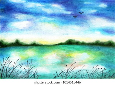 Lake with reeds on the shore. Watercolor illustration