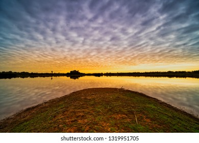 Lake Reflection Morning, tranquil landscape with cumulus clouds