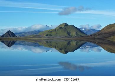 Lake reflection on Laugavegur trek, Iceland