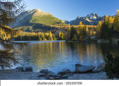 Lake reflexion, Strbske pleso in High Tatras mountain, Slovakia