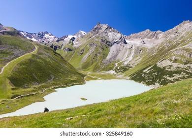 Lake Rifflsee in the Pitztal in Austria