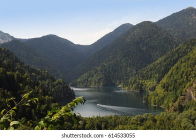 Lake Ritza in the summer with mountains