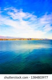 Lake Riza. Abkhazia. Nature Background Summer. Sea horizon. Mountains Of Abkhazia. Black sea. Summer holiday.