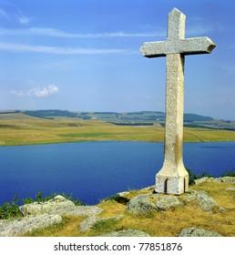 Lake Saint-Andeol, Aubrac plateau, France, Massif Central, Auvergne, Midi-Pyrenees and Languedoc-Roussillon. UNESCO - the Pilgrim's Road to Santiago de Compostela