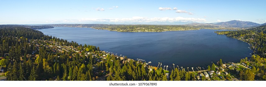 Lake Sammamish Bellevue Washington Panoramic Landscape View