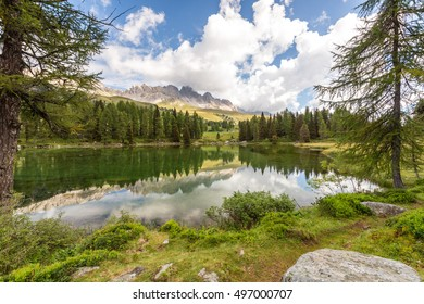 Lake San Pellegrino on pass San Pellegrino, near famous Val di Fassa valley, Dolomites mountains, Italy