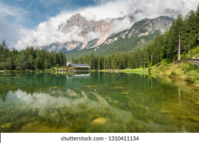 Lake San Vito di Cadore (lake Mosigo) in Boite valley in the domain of Mount Antelao also called King of the Dolomites. Italian Dolomites Alps Scenery, Italy, Europe.