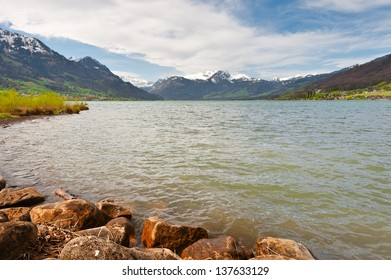 Lake Sarner on the Background of Snow-capped Alps, Switzerland