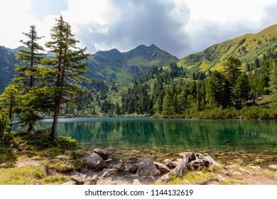 lake scheibelsee, in the background mountain great bosenstein in styria, rottenmanner tauern, austria