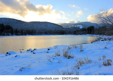 Lake Schluchsee at dusk in winter. Black Forest, Germany.