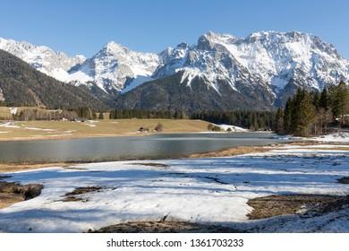 Lake Schmalsee in Bavaria, Germany, in spring