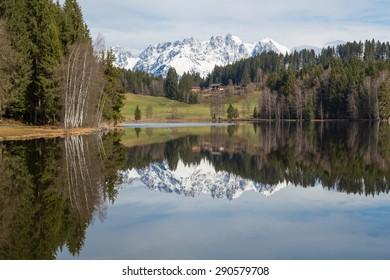 Lake Schwarzsee in Tirol, Austria