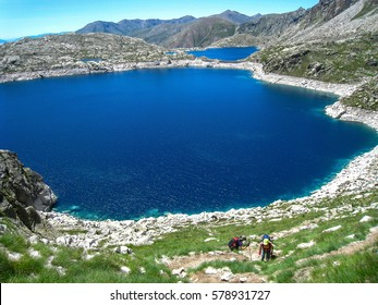 "Lake of the sea. ""Chariots of fire"" trail. Pyrenees mountain, Spain"