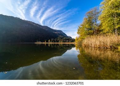 lake Seealpsee in the Allgäu Alps in autmn