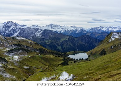 Lake Seealpsee in the mountain landscape of the Allgau Alps above of Oberstdorf