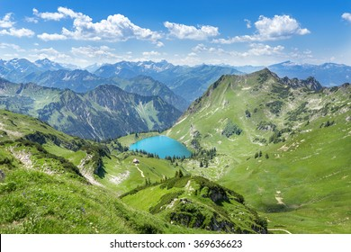 Lake Seealpsee in the mountain landscape of the Allgau Alps above of Oberstdorf, Germany.