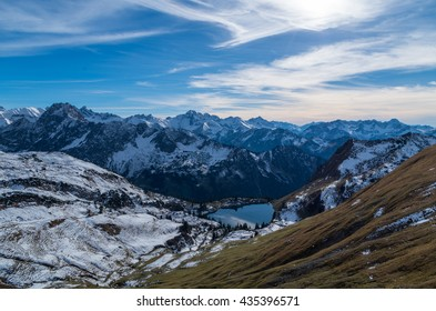 Lake Seealpsee in the mountain landscape of the Allgau Alps above of Oberstdorf, Allgau, Germany.