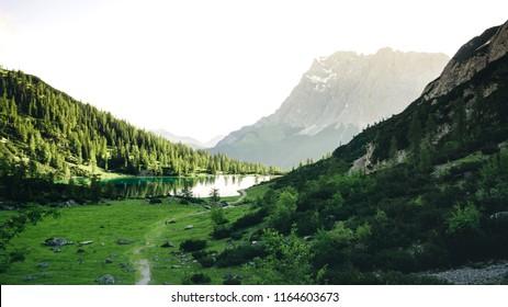 Lake Seebensee and mount Zugspitze seen from Coburger Hut, an alpine hut near Ehrwald, Tirol, Austria
