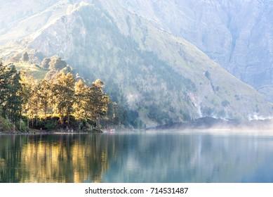 Lake Segara Anak on morning. Rinjani mountain, Lombok island, Indonesia.