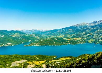 Lake Serre Poncon landscape view