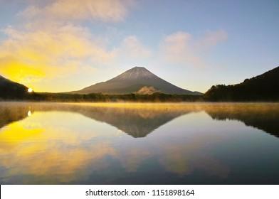 Lake Shojin and Mt. Fuji at sunrise where frost smoke stands up