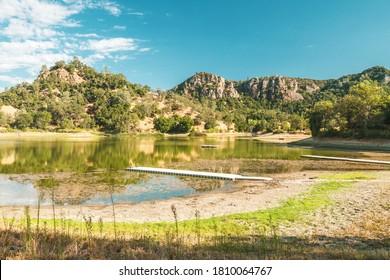 Lake shore and mountains. Santa Margarita Lake, California