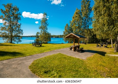 Lake shore with trees. Beautiful nature Finland.